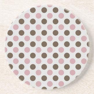 Pink And Brown Polka Dots Beverage Coasters