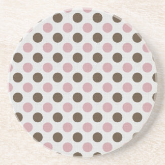 Pink And Brown Polka Dots Coaster