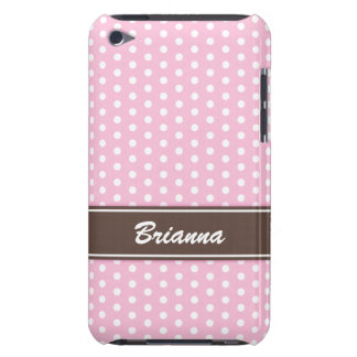 Pink and brown polka dots iPod case