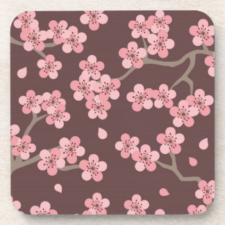 Pink and Brown Realistic & Abstract Cherry Blossom Drink Coasters