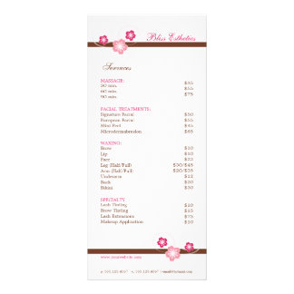 Pink and Brown Sakura Spa Menu Template Full Color Rack Card