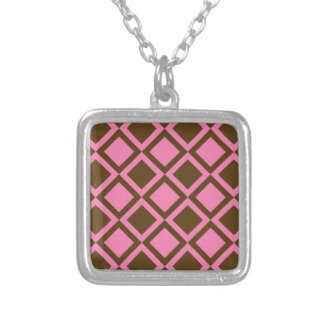 pink and brown squares or diamonds pendants