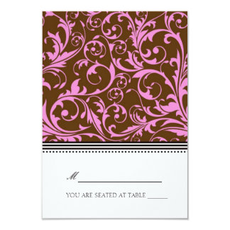 Pink and Brown Swirl Folding Tent  Place Card 9 Cm X 13 Cm Invitation Card