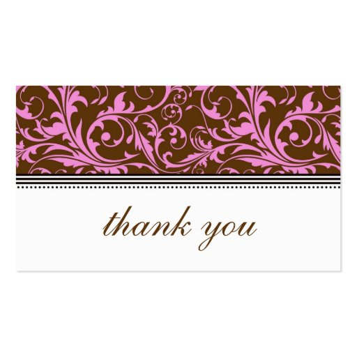 Pink and Brown Swirl Thank You Card Business Card Template