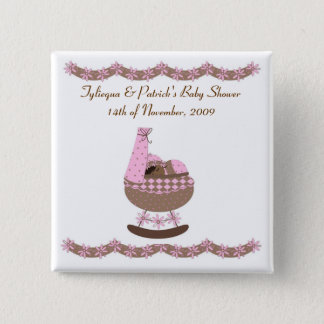 pink and brown themed Baby Shower 15 Cm Square Badge