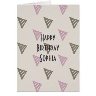 Pink and Brown Triangles Card