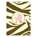 Pink and Brown Zebra Print Baby Shower Invitation