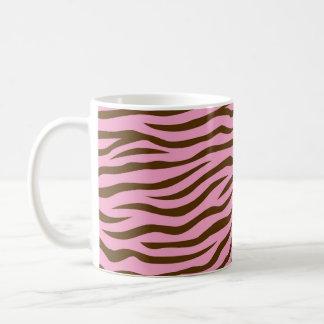 Pink and Brown Zebra Stripes Animal Print Coffee Mug