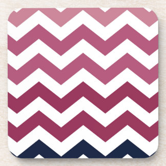 Pink And Burgundy Chevron Stripes Beverage Coaster