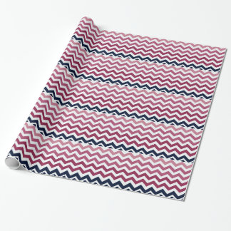 Pink And Burgundy Chevron Stripes Wrapping Paper