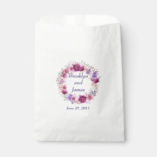 Pink and Burgundy Floral Bouquet Favour Bags