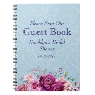 Pink and Burgundy Floral Bridal Shower Guest Book Note Book