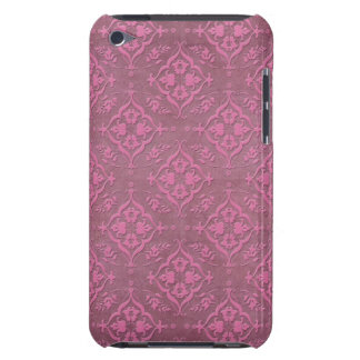 Pink and Charcoal Grey Damask Barely There iPod Cover