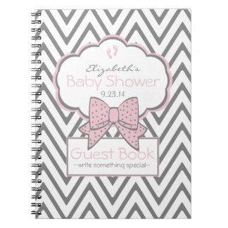 Pink and Chevron- Baby Shower Guest Book- Spiral Notebook