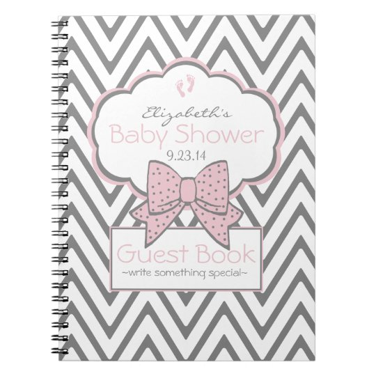 Pink and Chevron- Baby Shower Guest Book- Spiral