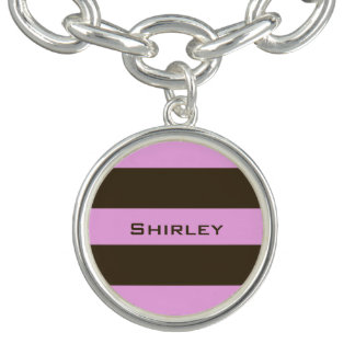 Pink and Chocolate Brown Wide Stripes by STaylor