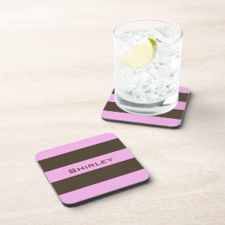 Pink and Chocolate Brown Wide Stripes by STaylor Coaster