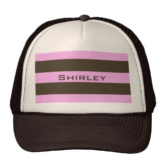 Pink And Chocolate Brown Wide Stripes Cap