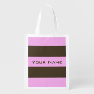 Pink and Chocolate Brown Wide Stripes