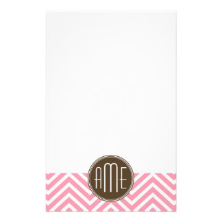 Pink and Chocolate Chevron Pattern Custom Monogram Personalised Stationery