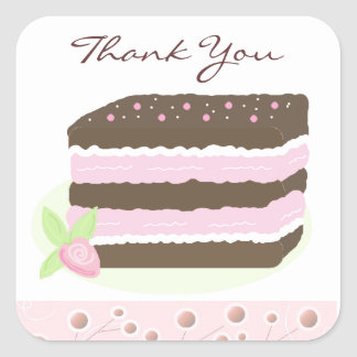 Pink and Chocolate Layer Cake Thank You Square Sticker