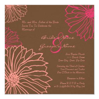 Pink and Chocolate Mum Flowers Wedding Invitation
