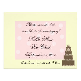 Pink and Chocolate Save the Date Invite
