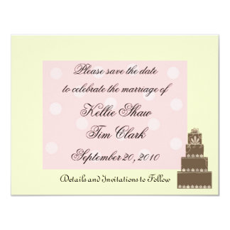 """Pink and Chocolate Save the Date 4.25"""" X 5.5"""" Invitation Card"""