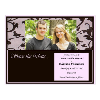 Pink and Chocolate Save the Date wedding Cards Postcard
