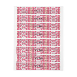 Pink and colorful tiles pattern wraparound address label