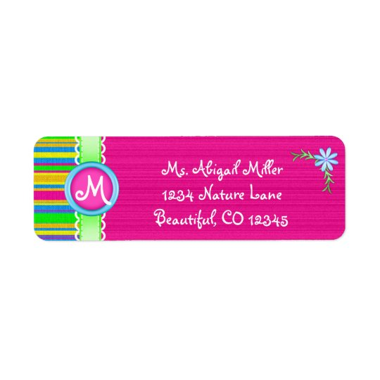 Pink and Colourful Monogram with Flower Return Address Label