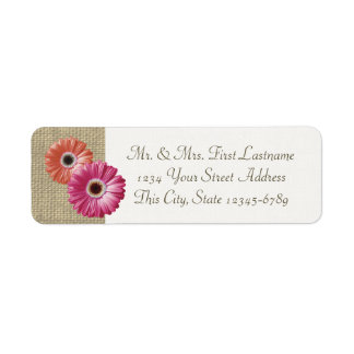 Pink and Coral Gerbera Daisy and Burlap Return Address Label