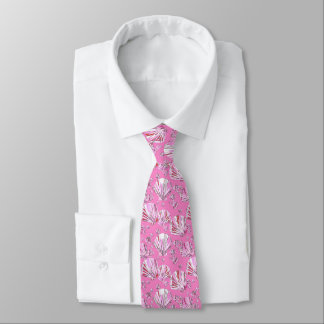 Pink and coral sea shells, orchid pink background tie