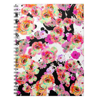 Pink and Coral Spring Floral on Black and White Notebook