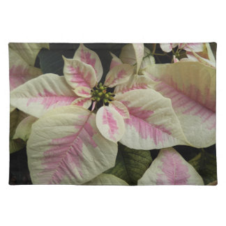 Pink and Cream Poinsettias Floral Cloth Placemat
