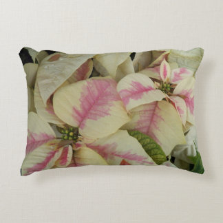 Pink and Cream Poinsettias Floral Decorative Cushion