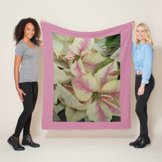Pink and Cream Poinsettias Floral Fleece Blanket