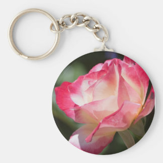 Pink and Cream Rose Keychain