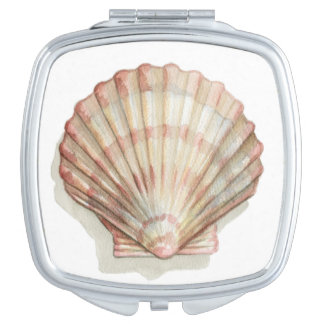 Pink and Cream Seashell Compact Mirror