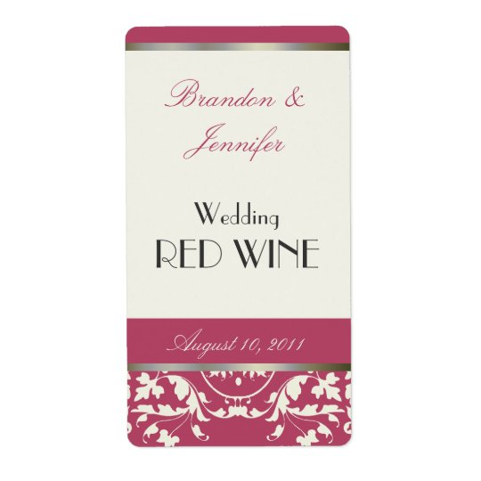 Pink and Cream Wedding Mini Wine Labels