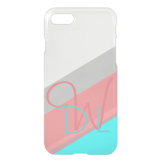 Pink and Cyan Stripes | Monogram iPhone 8/7 Case