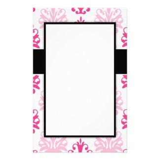 Pink and dark pink boho chic damask design stationery