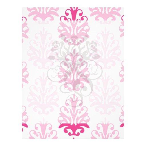 Pink and dark pink boho chic damask flyer design