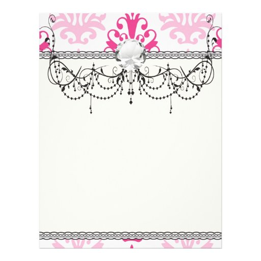 Pink and dark pink boho chic damask flyers