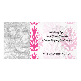 Pink and dark pink boho chic damask personalized photo card