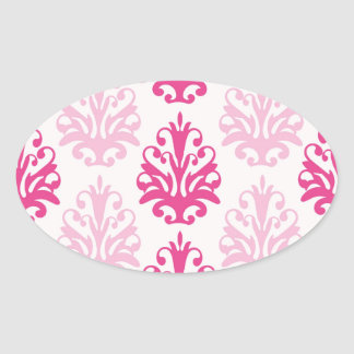 Pink and dark pink boho chic damask oval stickers