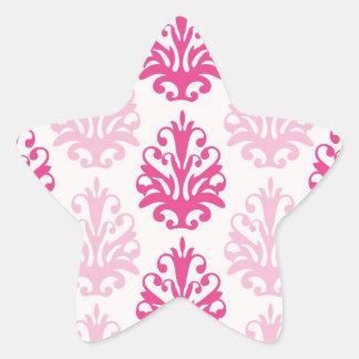 Pink and dark pink boho chic damask star stickers