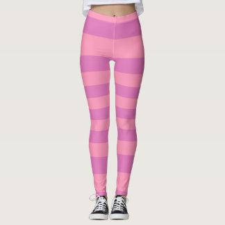 Pink and Dark Pink Purple Stripes Leggings