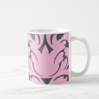 pink and deep gray large damask mug