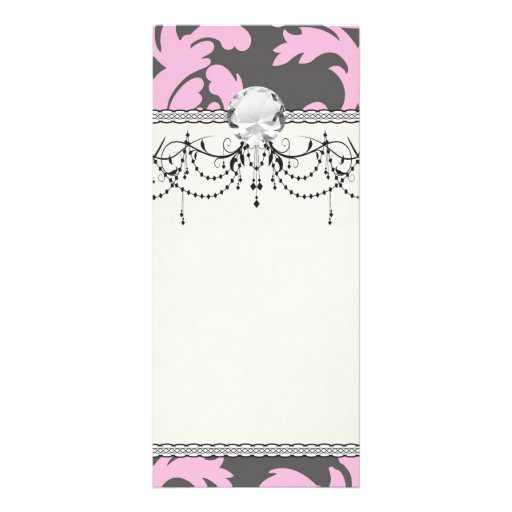 pink and deep grey large damask 10 cm x 23 cm rack card